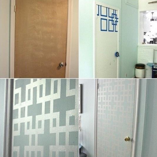 Kare parçaları kullanarak kapı yüzeyinde orijinal bir resim çizilimi yapılmıştır.